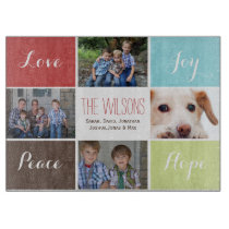 four photos collage custom glass cutting board