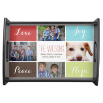 four photos collage custom serving tray