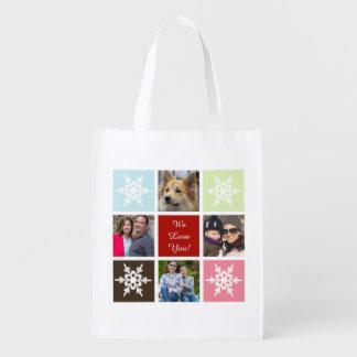 four photos collage Mod photo reusable bag Grocery Bags