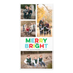 Four Photos Merry Bright and Colorful Skinny Card Photo Card