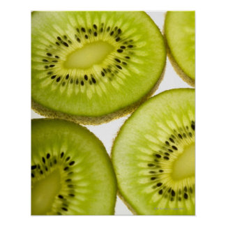 Four pieces of sliced kiwi posters