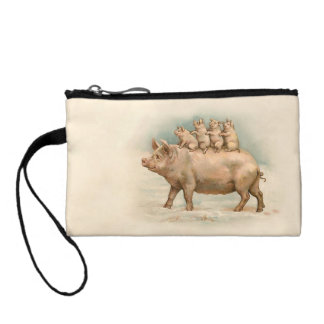 Four Piglets Riding on Mother - Cute Vintage Art Coin Wallets