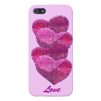 four pink sequined hearts - love cover for iPhone SE/5/5s