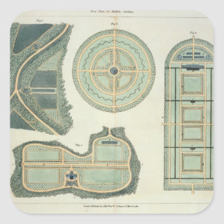 Four Plans for Kitchen Gardens, from 'Hints on the Square Sticker