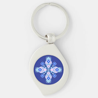 Four point Mandala - orchid, blue and cobalt Keychain