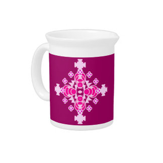 Four point Mandala - pale pink and plum Drink Pitchers