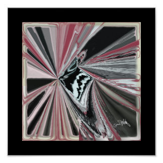 Four Points Abstract in Black and Red Poster