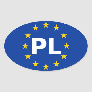 """FOUR Poland """"PL"""" European Union Flag Oval Sticker"""