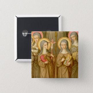 Four Poor Clare Saints (SAU 027) Square Pinback Button