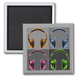 Four Pop Art Headphones Magnet
