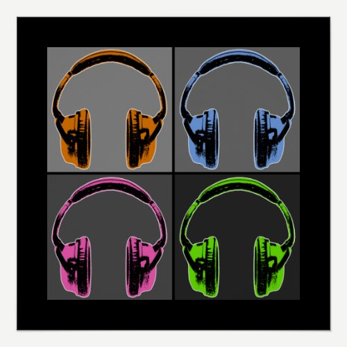 Four Pop Art Headphones Poster