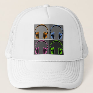 Four Pop Art Headphones Trucker Hat