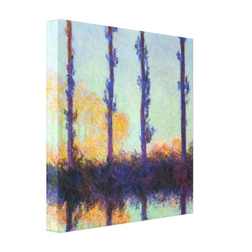 Four poplars reflection by Claude Monet Canvas Print