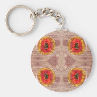 Four poppy globes on wood keychain