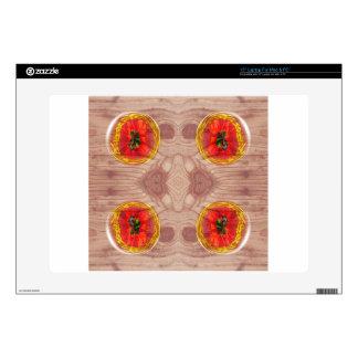Four poppy globes on wood laptop skin