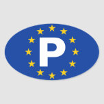 "FOUR Portugal ""P"" European Union Oval Stickers"