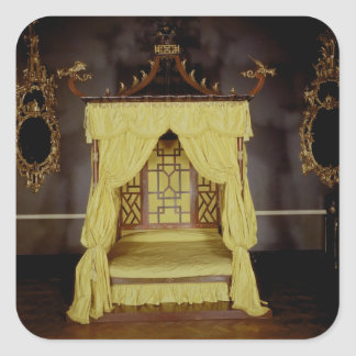 Four Poster Bed, in the Chinese style, 1750s Square Sticker