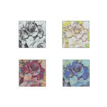 Four Pretty Classy Rose Pattern Stone Magnet