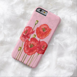 Four Pretty Red Poppies on Pink Barely There iPhone 6 Case