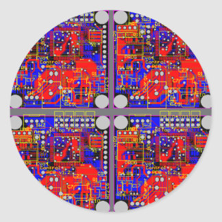 Four Printed Circuit Boards (PCB) Round Stickers