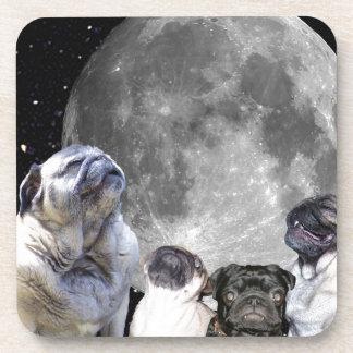 Four Pug Moon Coaster