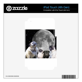 Four Pug Moon Decals For iPod Touch 4G