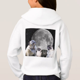 Four Pug Moon Girl's Pullover Hoodie