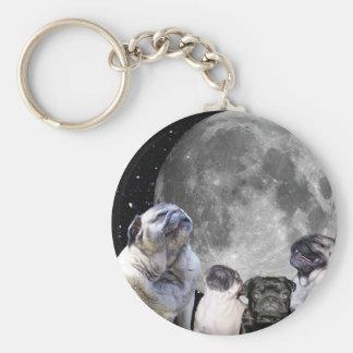 Four Pug Moon Keychain