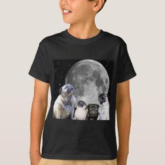 Four Pug Moon Kid's Dark Hanes Tagless T-Shirt