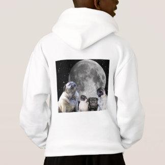 Four Pug Moon Kid's Pullover Hoodie