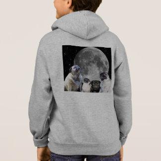 Four Pug Moon Kid's Zip Hoodie