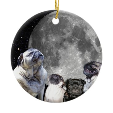 USA Themed Four Pug Moon Pug Ceramic Ornament