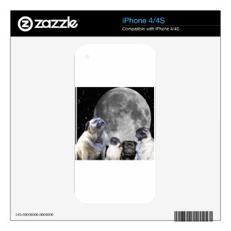 Four Pug Moon Skin For iPhone 4