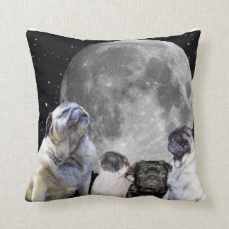 "Four Pug Moon Throw Pillow 16"" x 16"""