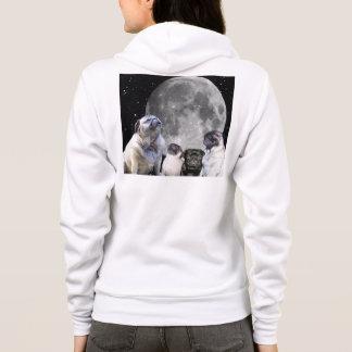 Four Pug Moon Women's Fleece Zip Hoodie