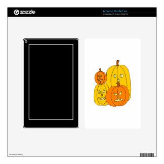 four pumpkin jack o lantern graphic skins for kindle fire