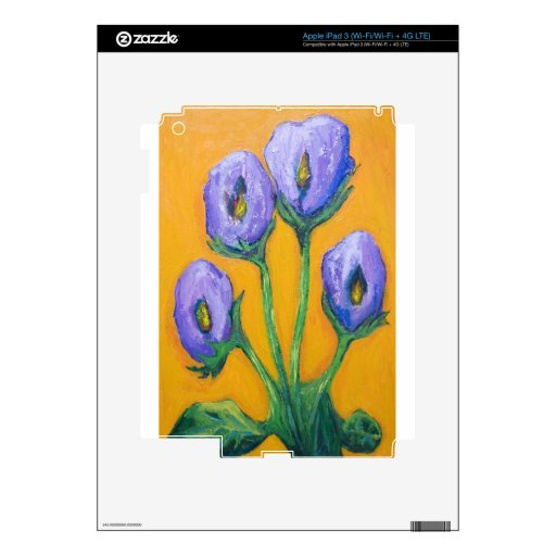 Four Purple Flowers (abstract flowers) Decal For iPad 3