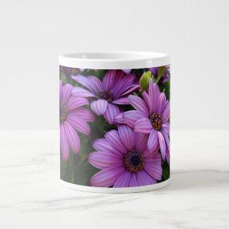 Four Purple Striped Daisies 20 Oz Large Ceramic Coffee Mug