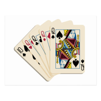 Four Queens - Poker Hand - Play To Win Charms Postcard