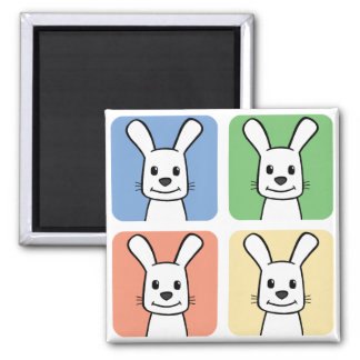 Four Rabbits 2 Inch Square Magnet