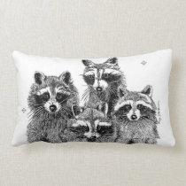 Four Raccoons Pillow