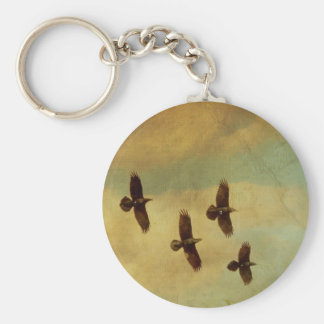 Four Ravens Flying Keychain
