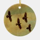 Four Ravens Flying Ornaments