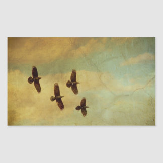 Four Ravens Flying Rectangular Sticker