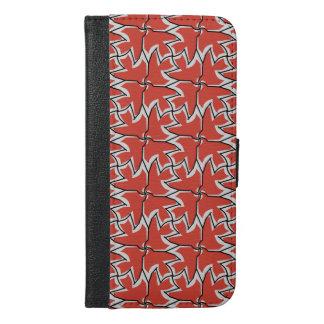 Four Red Birds Pattern Wallet Case