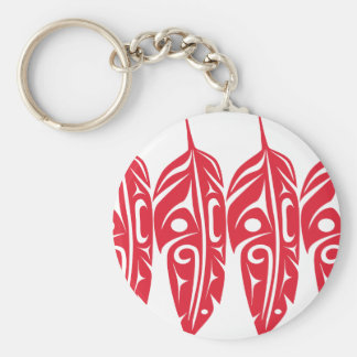 Four Red Eagle Feathers Keychain