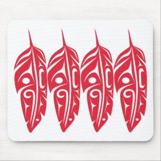 Four Red Eagle Feathers Mouse Pad