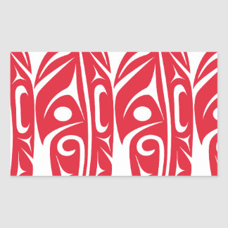 Four Red Eagle Feathers Rectangular Sticker
