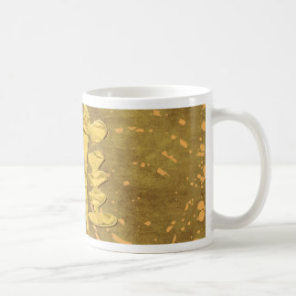 Four Red Roosters Running on Abstract Design, Sign Coffee Mug