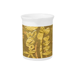 Four Red Roosters Running on Abstract Design, Sign Drink Pitcher